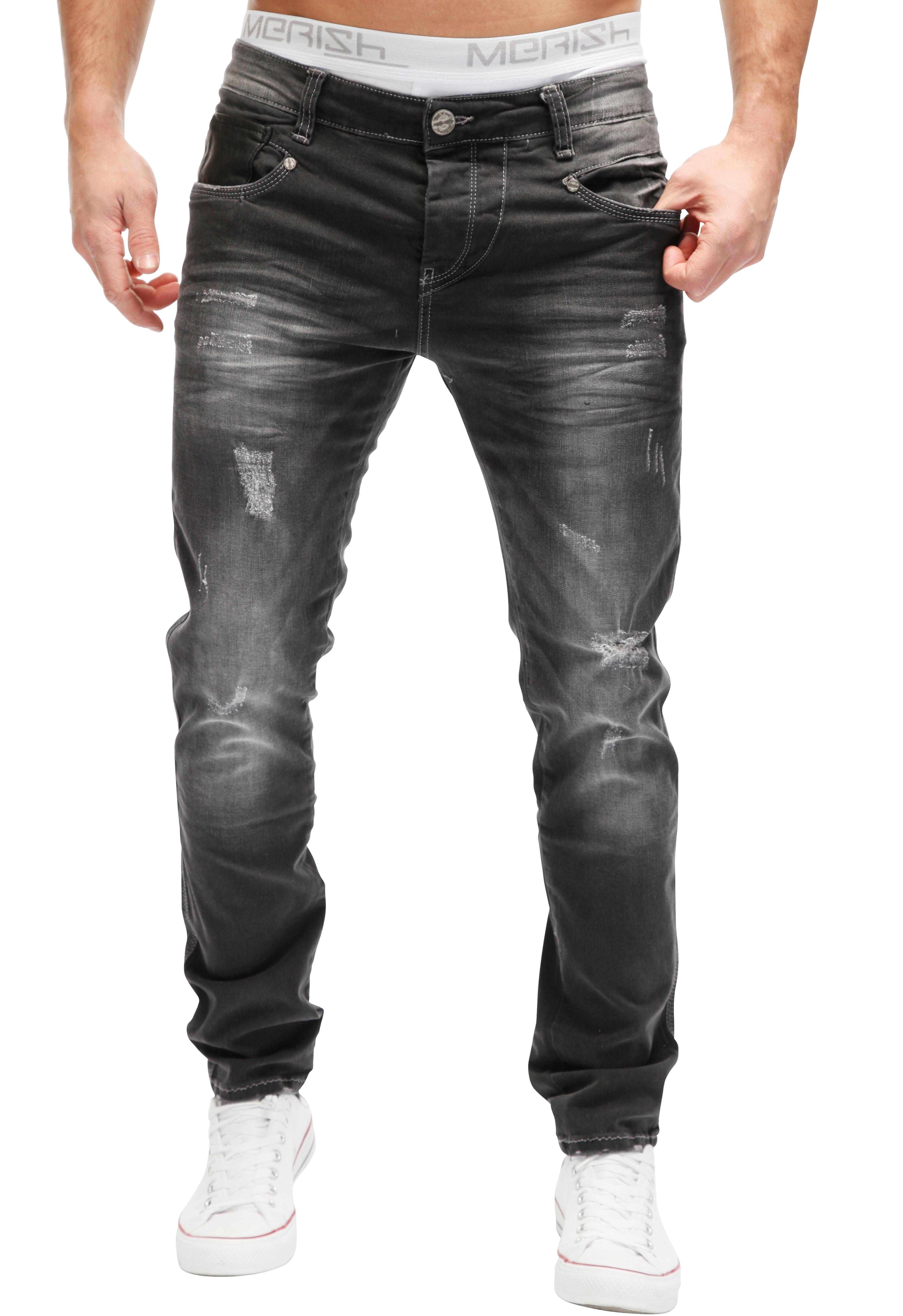 merish jeans herren jeanshose biker look zipper chino blau. Black Bedroom Furniture Sets. Home Design Ideas